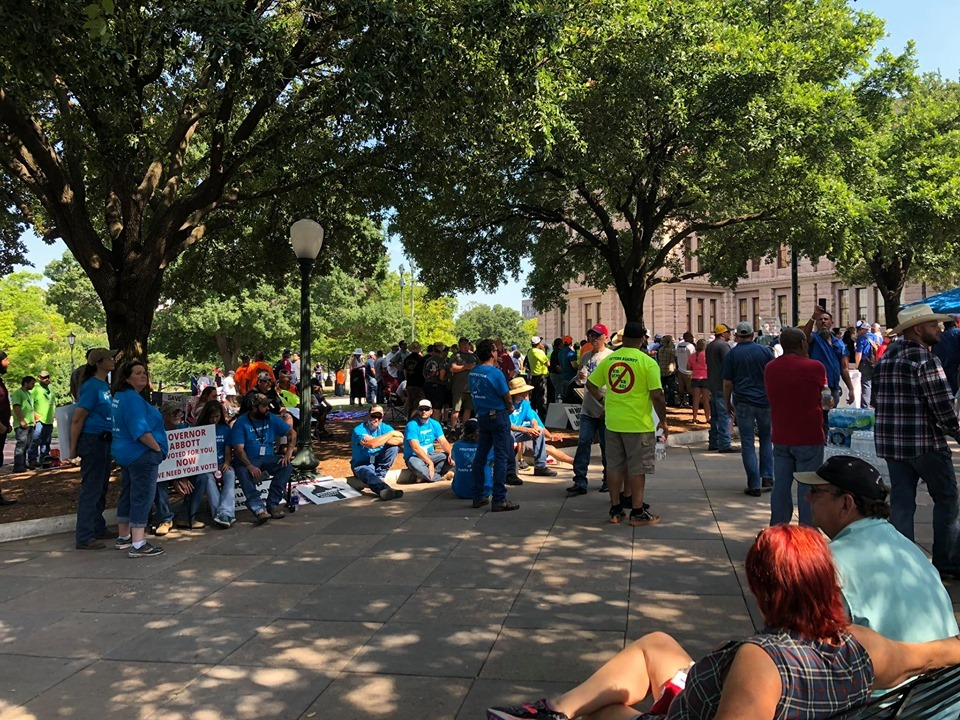 Plumbers and their supporters held a rally June 14 at the state capitol. (Photo by M2 Plumbing & Drains)