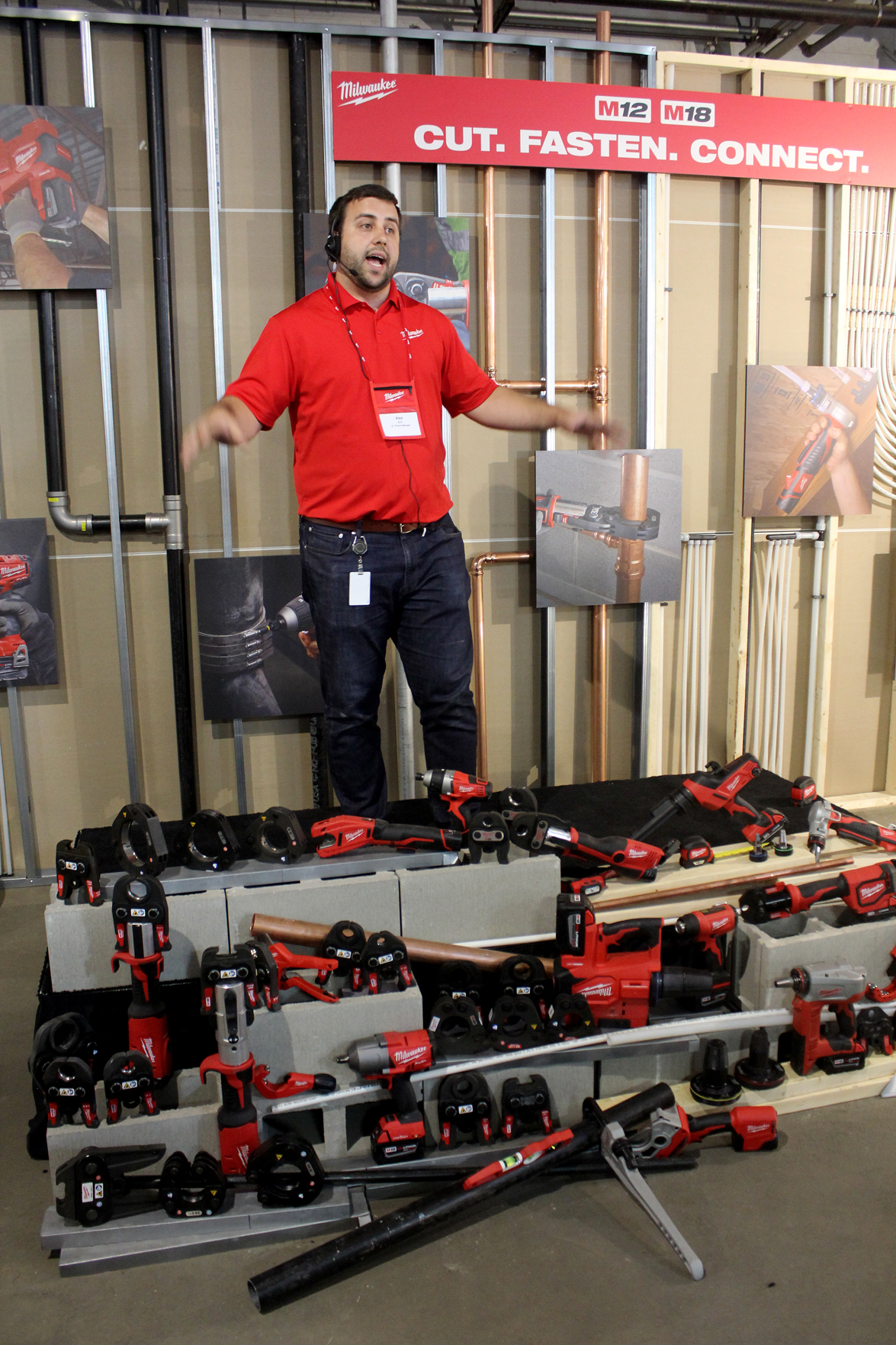 Alex Boll, senior product manager, talks to contractors about some of the plumbing-specific applications for Milwaukee Tool's M12- and M18-powered products.