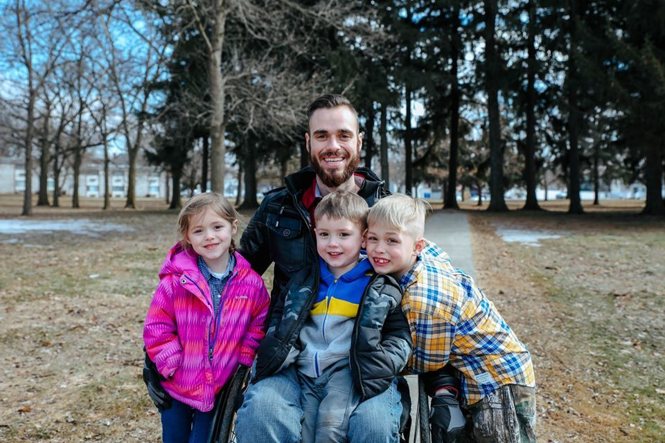Henry Mandler, a single father of three who is paralyzed from a December 2018 car accident, was chosen as the recipient of the 2020 Pay It Forward project. (Photo courtesy of T 'N G Plumbing)