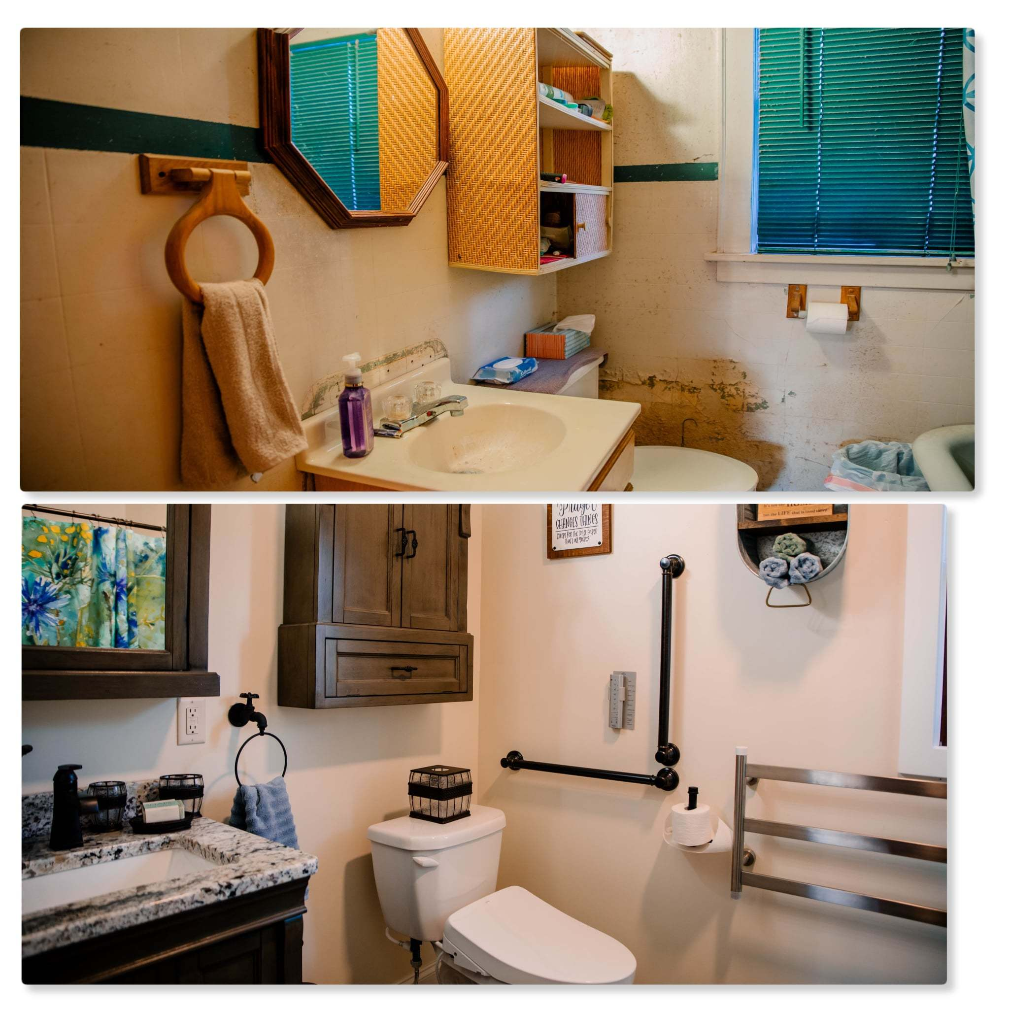 Before and after shots of the bathroom renovation