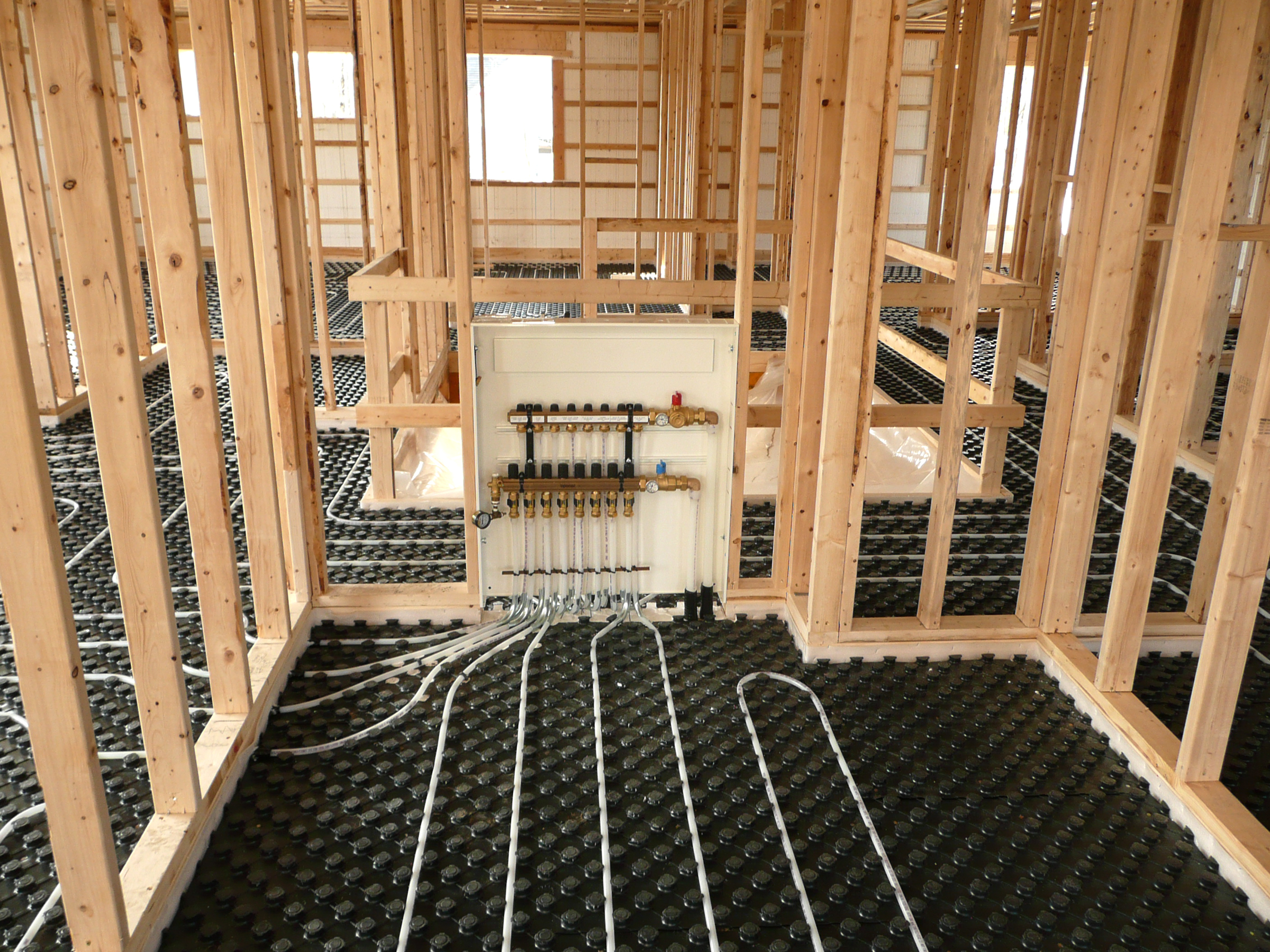 A radiant system install using PEX pipe.