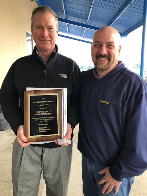 Bill Frenzel (left) from Empire State Associates with Brasscraft's Mark Duford.